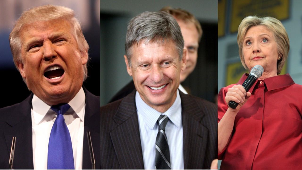 Clinton, Trump, Johnson