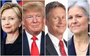 Clinton, Trump, Johnson, Stein